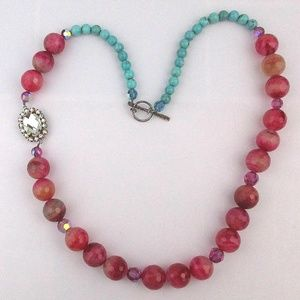 Chunky Tourmaline Turquoise Necklace w/ AB Crystal